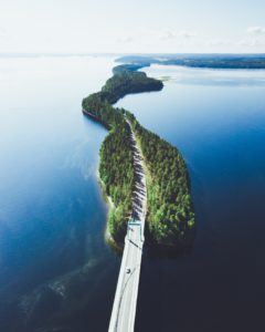 Cycling through the Finnish lake district.