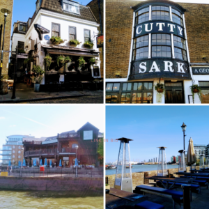 four pubs discovered when exploring the Thames on the bike